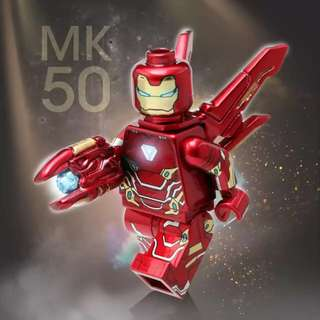 HB Iron Man Mark 50 custom minifig. Handmade with decal and coating. Custom mold parts. Brand new. Authentic Lego parts. For pre-order.