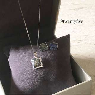 SET PROMO😍925 Silver Shell Square Set Necklace Earring
