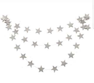 Silver Glittery Stars Paper Garland party decors (4 meters)