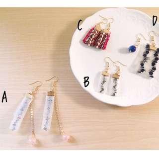 🚚 🎉(現貨)日系 垂墜 蕾絲 刺繡 手作 耳勾 耳環