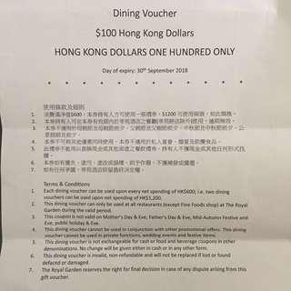 [包平郵] Royal Garden 帝苑酒店餐廳 $100現金優惠券
