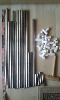 Spare Aluminium Cylinder Rods w White Plastic Connectors for DIY