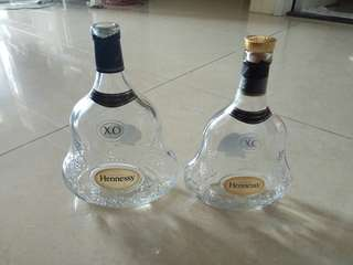 Two Hennessy XO empty bottles