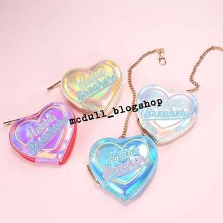 Heart breaker heart hologram pouch