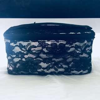 黑色喱絲網紋化妝袋
