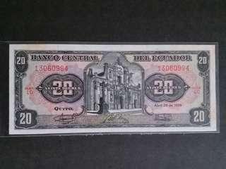 全新直版南美厄瓜多爾20蘇克雷纸幣(微黃,已絕版)