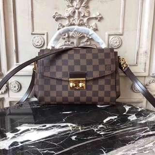 LV Croisette Damier Ebene Leather Crossbody Bag
