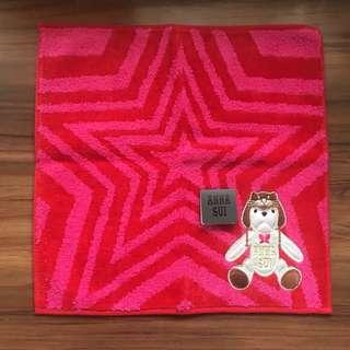 全新有牌 ANNA SUI 可愛熊仔方形手巾一條