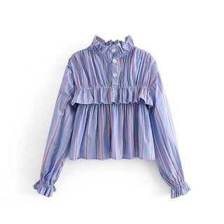 🔥Europe 2018 Loose Long Sleeve Lace Stripe Lantern Sleeves Shirt