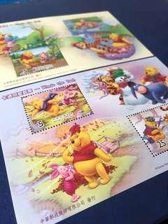 一套兩張 台灣 卡通明星郵票 小型張 小熊維尼 Winnie the Pooh