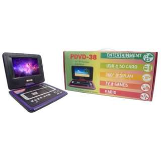 "Portable DVD Player 10.5 inch Screen Frame 7"" inch LCD, with Built-in TV, USB and SD Card Slot for MP3 (Purple) - 5755"
