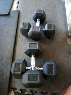 Rubberized Dumbells (45 per lbs)