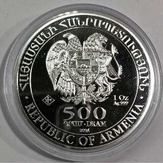 2014亞美尼亞1盎司999銀500 Drams Noahs Ark。