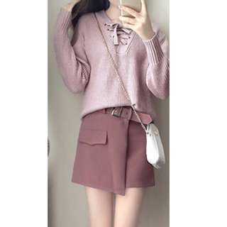 Sweet lavender ribbon v neck knit sweater with cute pastel pink buckle irregular skirt set ootd outfit