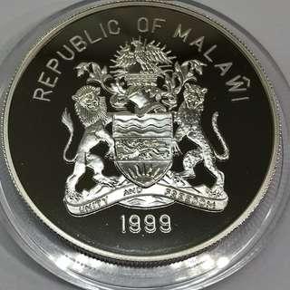 1999 Malawi sydney 2000 Olympics 1 oz silver coin.