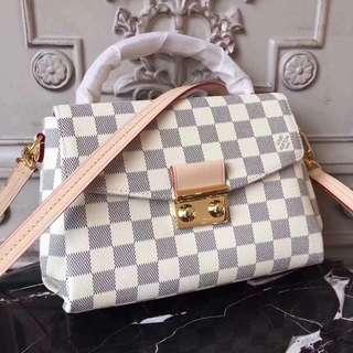 LV Croisette Damier Azur Leather Crossbody Bag