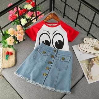 Kids fashion girl Denim Skirt