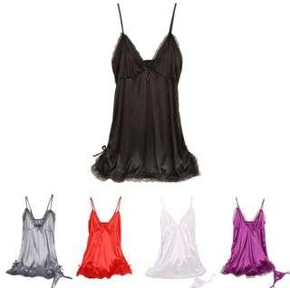 Lace Lingerie Silk Satin Night dress V-neck Sleepwear Nighties