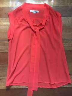 Forever 21 Sheer Neon Orange blouse