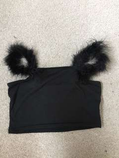Black crop top feather straps