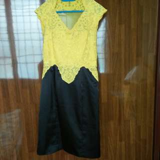 Elegence Yellow Sheer lace dress