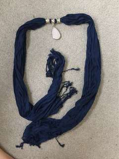 Navy blue scarf with embellishment