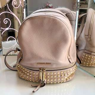 Michael Kors Pale Pink Backpack with Gold Studs