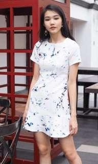 3inute Elenore Flutter Hem sleeved blue Coloursplash Dress