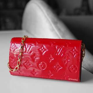 Authentic Louis Vuitton Red Vernis Chain Wallet
