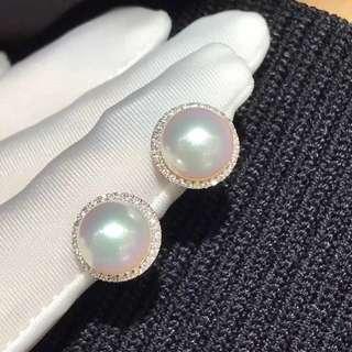 客訂✈✈✈9-9.5mm akoye18k白金鑽石鑲嵌珍珠耳釘。