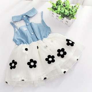 Girl Dress Lace Denim Floral Collar Dress
