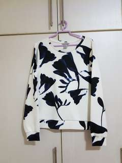 H&M Marble Flower Long Sleeve Top