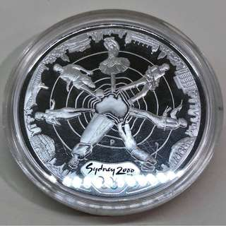 "5$ 2000 Sydney Olympic 1 oz silver proof coin ""Reaching the World"" serie 2."