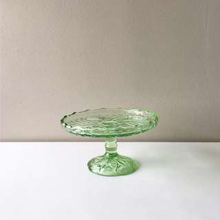 Peranakan Vintage Green Footed Glass Dish