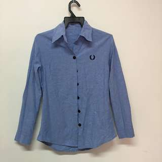 Fred Perry Inspired Light Blue Long Sleeve Shirt