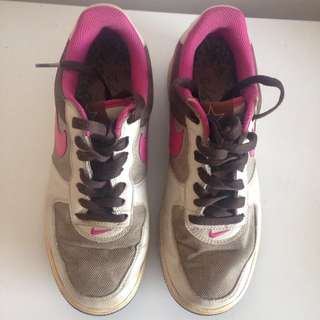 Women's Pink & Brown Nike Air Force 1