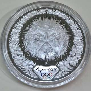 "5$ 2000 Sydney Olympic 1 oz silver proof coin ""Echidna & Tea Tree""."