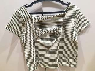 Mango Black and White Striped Open Back Top