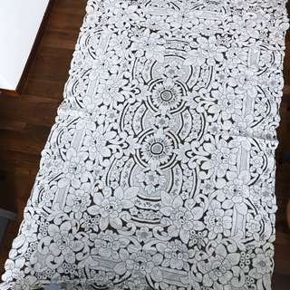 Vintage 100% cotton full embroidered table cloth with 12 embroidered napkins