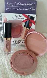 Tarte blush in paaarty n creamy matte lipstick in birthday suit