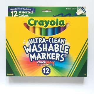 Ultra Clean Washable Broad Line Markers, 12 Assorted Colors