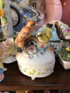 Vintage 3D ceramic bird small container