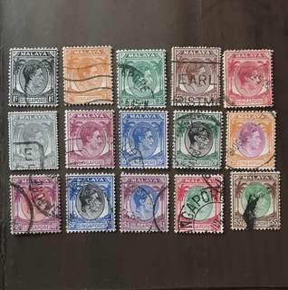 Singapore 1948-49 King George VI stamps 15v 1c to $5 used