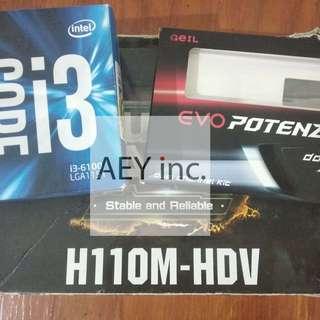Asrock lga 1151 h110m i3 6100 Geil Evo Potenza DDR4 2x4gb skylake 2x4