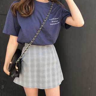 GINGHAM BLOCK SKIRT
