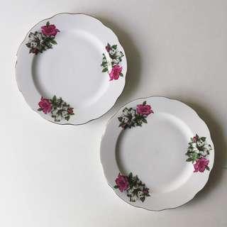 2pc Vintage 23cm Bunga Kangkong Porcelain Lunch Plates