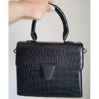 Armani inspired faux black croc skin top handle bag