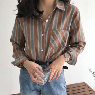 Toffee Stripes Button Down Blouse