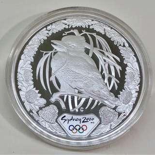 "5$ 2000 Sydney Olympic 1 oz silver proof coin ""Kookaburra & Waratah""."