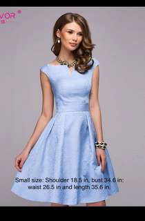 Beautiful blue dress. Sophisticated style, would not go out of fashion. Suitable for formal event